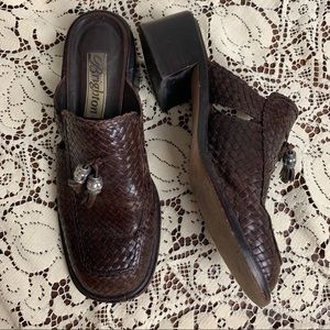 Vintage Brighton Woven Leather Mules-7.5
